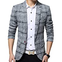 Tidecc Men's Blazer Slim Fit Casual One Button Suits Coat Tweed Jacket Checkered Blazer
