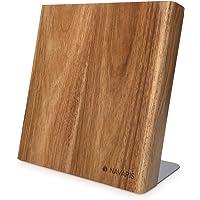 Navaris Bloc à Couteaux magnétique - Bloc aimanté en Bois d'acacia - Range Couteau de Cuisine Vide - Support Vertical…