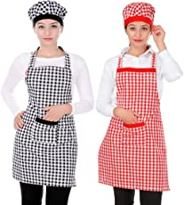 Switchon Cotton Checkered Apron with Cap, (Block and Red)