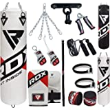 RDX Punch Bag for Boxing Training, 4ft 5ft Filled Heavy Bag Set with Punching Gloves, Chain, Ceiling Hook, 13pc for Grappling, MMA, Kickboxing, Muay Thai, Karate, BJJ,Taekwondo