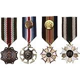 IPOTCH 4 Unids Hombres Vintage Insignia Broche Uniforme Militar Rayado Tela Metal Medalla Broche Pins