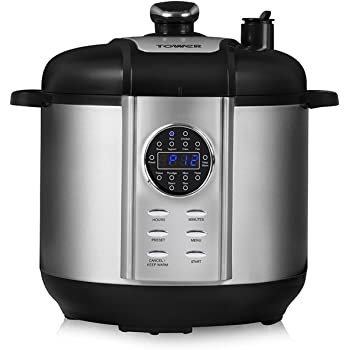 Tower Health T16005 One Pot Express 12-in-1 Electric Pressure Cooker, 6 Litre, 1100 Watt - Stainless Steel