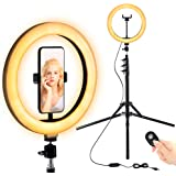 """FITUEYES Anello luminoso per selfie da 10""""con treppiede regolabile per live streaming/trucco, anello luminoso a led dimmerabi"""