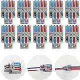 CTRICALVER Lever-Nut Surtidas Conector Paquete de 10, Bloque de Terminales de Barra de Presión Bilateral, 2 en 4 fuera Conduc