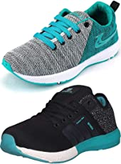 Ethics Best Combo of 2 Sea Green Black Running Sports Shoes for Men