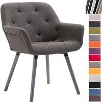 CLP Chaise de Salle à Manger Cassidy Revêtement Tissu I Pieds en Bois Chaise Design Scandinave avec Dossier et Accoudoir - Charge Max.150 kg I Couleur:
