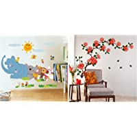 Decals Design 'Jungle Cartoon Cute Animals' Wall Sticker (PVC Vinyl, 60 cm x 90 cm, Multicolour) & 'Floral Branch…