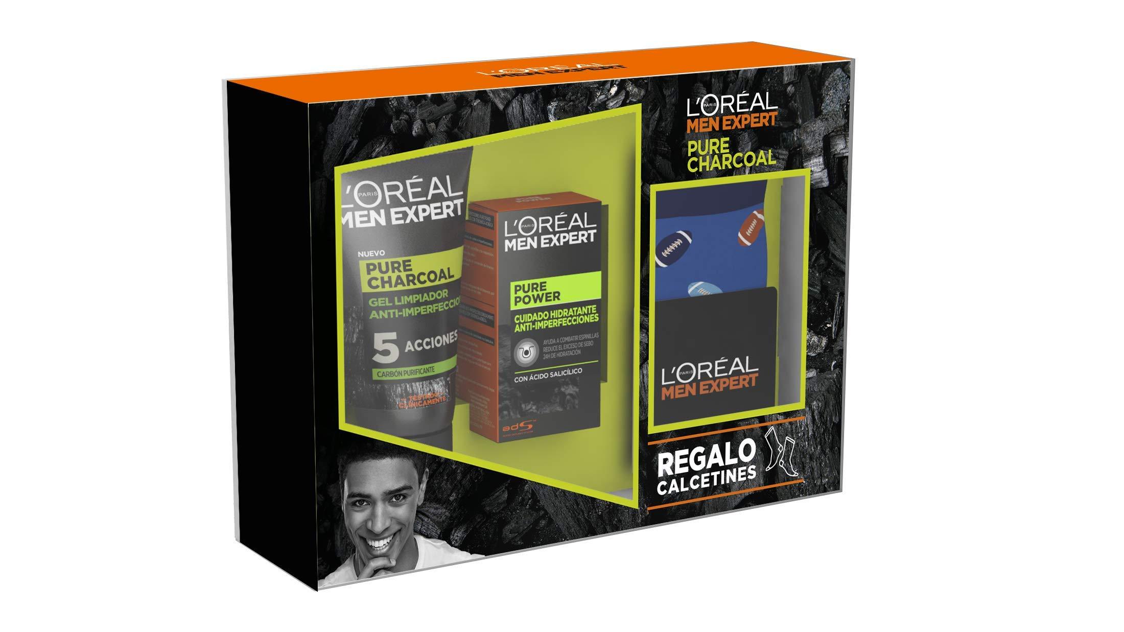 L'Oréal Men Expert – Pack con Crema hidratante Pure Power 50 ml y Limpiador Pure Charcoal 100 ml