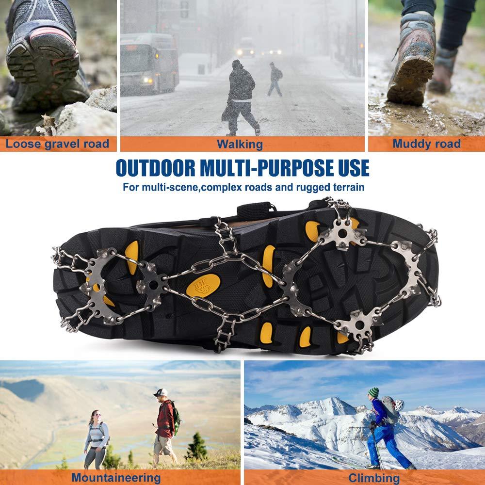 pattinaggio su ghiaccio in acciaio inox Lixada arrampicata con punte di trazione per inverno neve sci per ghiaccio e neve escursionismo Ramponi da ghiaccio a 19 denti