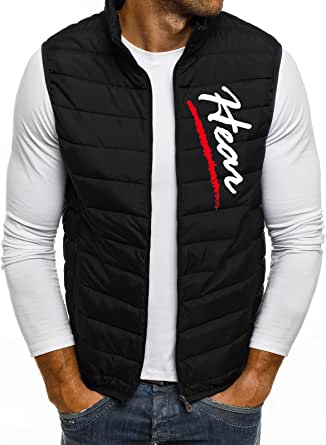 QUINTRA Mens Gilets Quilted Body Warmer Light-Weight Hooded Sleeveless Jacket Outdoor Waistcoats Men's Autumn Winter Zipper Fashion Pure Color Waistcoat Vest Top Coat