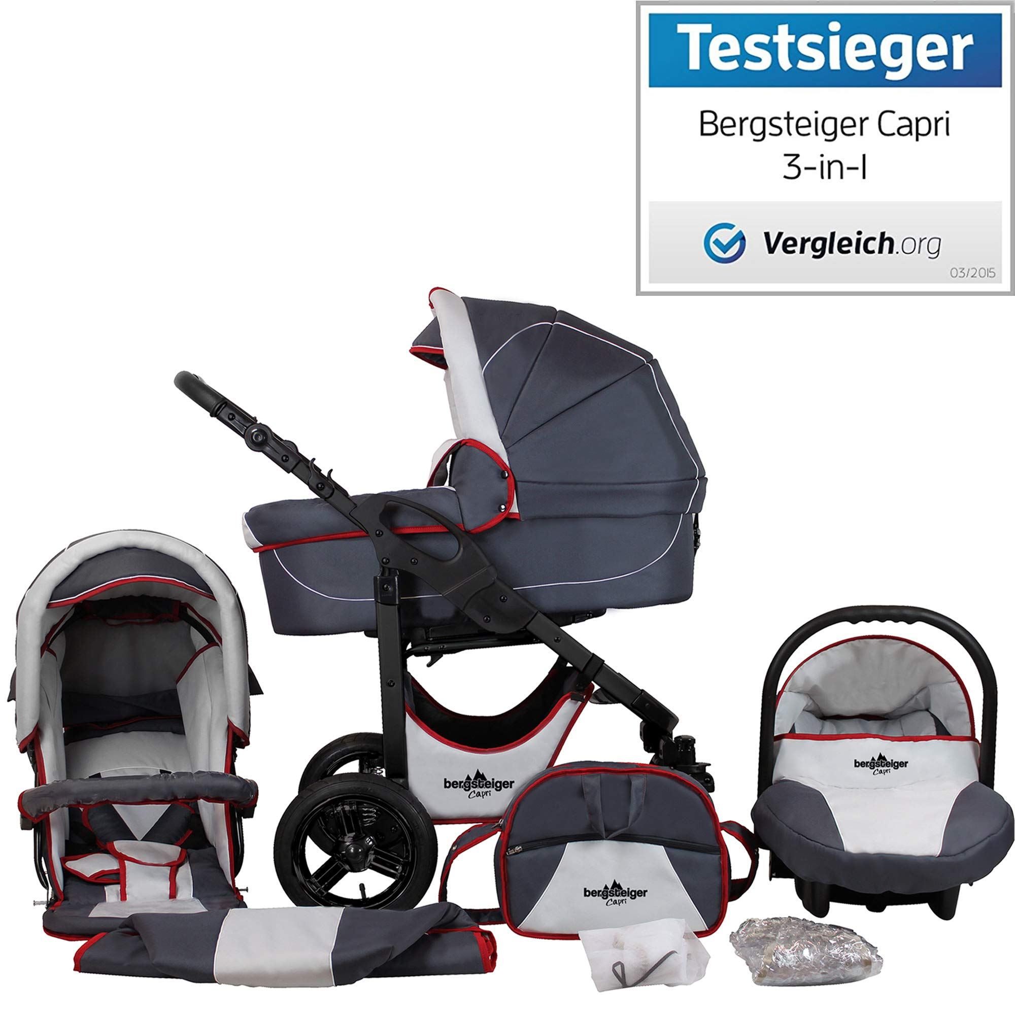 Bergsteiger Capri Grey & Red stripes | Gestell: anthrazit Kinderwagen 3 in 1 Kombikinderwagen Megaset 10 teilig inkl. Babyschale, Babywanne, Sportwagen und Zubehör