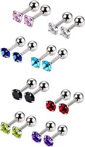 8 Paia 18 Gauge Orecchino a Bottone in Acciaio Inox Zirconi Bilanciere Cartilagine Orecchini Spirale Orecchini per Donne, 8 Colori