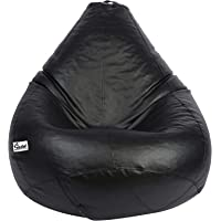 Gold Classic Bean Bag Filled with Beans/Fillers (XL, Black)