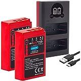 Baxxtar PRO 2X ersättning för batteri Olympus BLS-5 BLS-50 (äkta 1100mAh) med infobrik och mini 18802 USB dubbel laddare