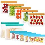 Newdora Bolsas de Silicona Reutilizables 12 Pack, Bolsas Congelar Reutilizables para Almacenamiento de Alimentos, Bolsas de c