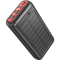 JIGA Powerbank Solar 30000mAh, Solar Power Bank Solar Ladegerät Externer Akku mit LED-Licht und 3 Ausgängen für iPhone…