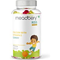 Meadbery Calcium + Vitamin D Gummies for Kids - For Stronger Bones and Teeth in Children who Dislike Milk, Made in an…