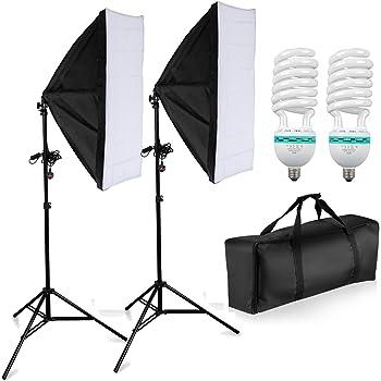 1250W Photography Studio Softbox Lighting Kit - 50cm x 70cm Softboxes + Fully Adjustable Aluminum alloy Light Stand + 125W Photo Studio Light Bulbs + Heavy Duty Portable Carry Bag