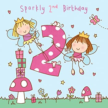 Twizler 2nd Birthday Card For Girl With Fairy Princess And Glitter