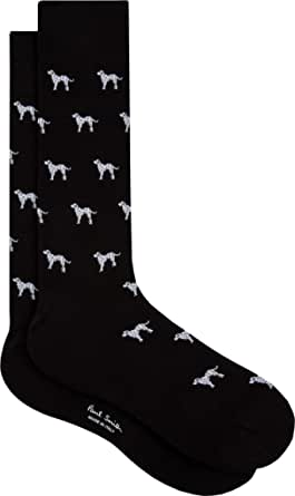 """PAUL SMITH """"Dalmation"""" Mens Cotton One Size Socks Black with Grey & White Dalmation Dogs"""