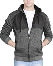 fanideaz Men's Cotton Quilted Hooded Sweatshirt with Zip