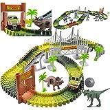 deAO Jurassic recerbans leksasset med dinosaurier, träbro, boll och en bil med ljusfunktioner