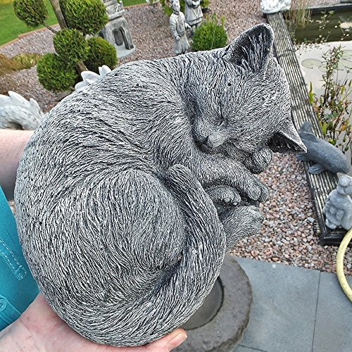 Steinfigur Katze Schlafend Mieze Deko Garten Tier Figur Gartenfiguren Skulptur patinierter Antiksteinguß