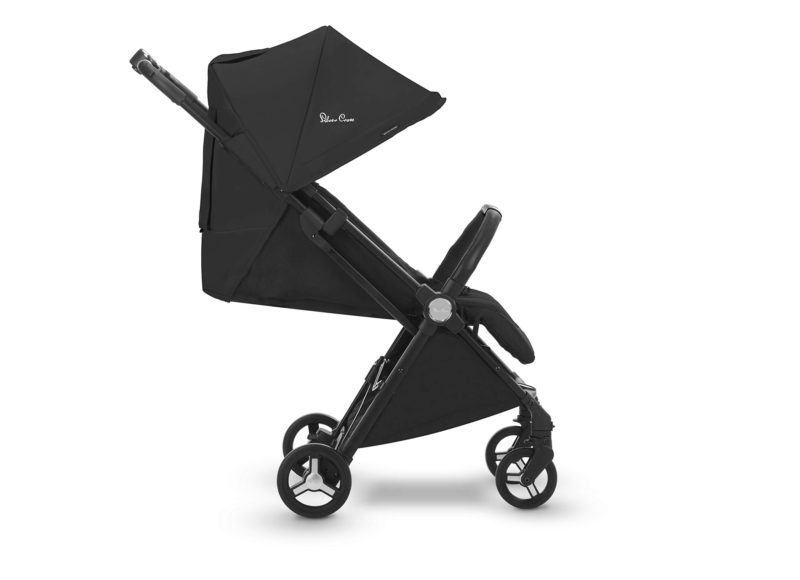 Silver Cross Jet Stroller, Ebony Silver Cross Ultra compact and light travel stroller Cabin approved. Folded Dimensions- 18 cm D x 30 cm W x 55 H cm Suitable from birth 1