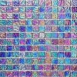 30cm x 30cm Pearl Iridiscent Dark Purple Glass Mosaic Tiles Sheet (MT0042)