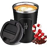 eeQiu Taza de café para Llevar 13oz 100% a Prueba de Fugas - Taza de Viaje de Acero Inoxidable - Taza de automóvil de Doble P