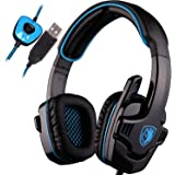 SADES SA901 Over Ear USB Wired 7.1 Surround Noise Cancelling PC Gaming Headset with Microphone - Black/Blue (Electronic Games