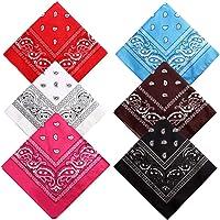 kuou 6 PCS 55 by 55 cm Paisley Bandana, Multifunction Headbands Cowboy Boho Bandana Handkerchiefs (Assorted 6 Colors)