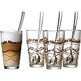 Ritzenhoff & Breker 124200 Lot de 4 verres à Latte Macchiato avec cuillères