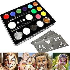 InnooBaby 12er Kinderschminke Schminkfarben Schminkset, 2 Glitzer und 3 Pinsel, Schminkfarbe Tiermasken Körperfarben für Halloween Karneval Make-up Gesichtsfarbe Bodypainting