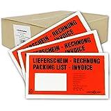 1000 papieren zakken pakbontassen Versando DIN lang DL 23, 5x13 cm rood/zwart bedrukt pakbon/factuur zelfklevend