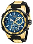 Invicta Men's Aviator Stainless Steel Quartz Watch with Silicone Strap, Gold, 30 (Model: 25858)