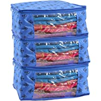 PrettyKrafts Saree Cover Set of 3 Prints Big Size/Wardrobe Organiser/Cloth Cover_Blue