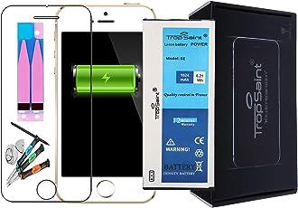 Trop Saint® Akku für iPhone SE - 1624mAh/3,82V mit Werkzeug, Sticker und Panzerglas