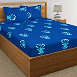 Home Ecstasy 100% Cotton Double bedsheets with 2 Pillow Covers Cotton, 140tc Floral Blue bedsheets for Double Bed Cotton (7.3ft x 7.7ft)
