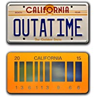 Back to the Future   Delorean   OUTATIME + 2015   Metal Stamped Vanity Prop License Plate Combo