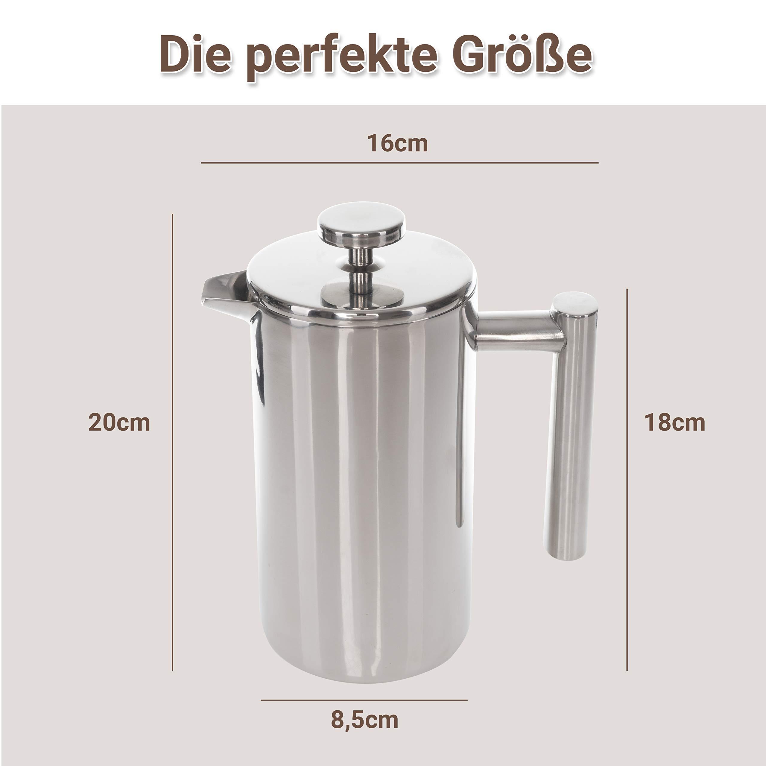 Premium Edelstahl French Press 0,6L Isolierwirkung Dank Doppelwandiger Bauform