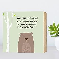 Brumm-Bär - Holzbild 15x15x2 zum Hinstellen / Aufhängen, Spruch - schwarz-weißes Holz-Schild Bild Poster Aufsteller zur Deko im Büro / Wohnung / als Geschenk Mitbringsel zum Geburtstag Hochzeit etc.