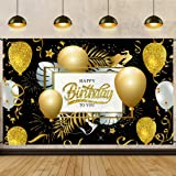 Birthday Party Decorations Backdrop Poster 200X125 Black and Gold Happy Birthday Sign Background Banner for Photography Anniv