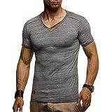 Leif Nelson, LN1355, maglietta estiva da uomo, scollo a V, vestibilità aderente, in cotone, a maniche corte