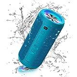 Ortizan Altoparlante Cassa Portatile con Luce LED, Bluetooth Speaker Impermeabile IPX7 con Funzione, Chiamata Vivavoce e Bass