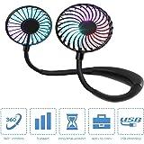 CORST Portable Neck Fan Hand Free Personal Fan Wearable USB Fan Desk Fan with LED Light, 3 Speeds USB Rechargeable, 360 Degre