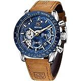 BY BENYAR Reloj Cronógrafo para Hombre Movimiento de Cuarzo Moda Negocios Deportes Watch 30M Impermeable Elegante Regalo de l
