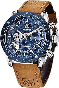 BY BENYAR Montre chronographe pour Homme Montre de Sport d'affaires de Mode Mouvement à Quartz 30M étanche et Anti-Rayures Cadeau élégant