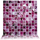Cocotik Peel And Stick Tile Purple 3d Kitchen Backsplash Tile 10 X10 Pack Of 6 Amazon Co Uk Kitchen Home