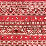Fabulous Fabrics Weihnachtsstoff Herzmuster – Creme — Meterware ab 0,5m — Oeko-Tex Standard 100 — zum Nähen von Outdoor-Deko, Tischdekorationen und Kissen und Tagesdecken